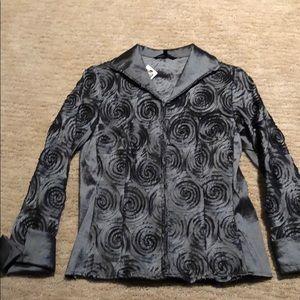 NWT XS Samual Dong pewter metallic dress blazer